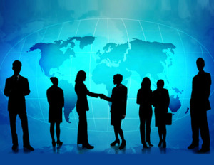 Professional people standing and a handshake - representing accent reduction across the globe